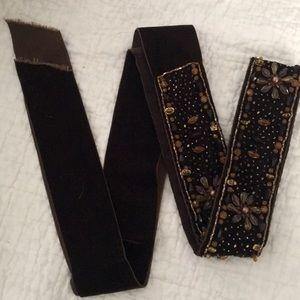 handmade vintage velvet belt with beading,,2yards